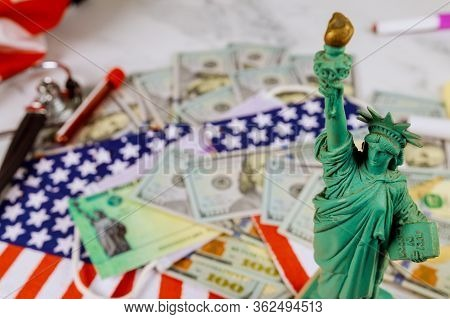 Money And Calendar U.s Dollars Money Tax Return Statue Liberty In The Tax Period In The Us With 1040