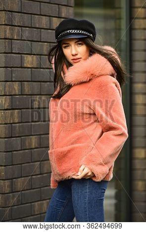 Winter Clothes. Pink Sheepskin Coat. Fancy Chic Coat. Natural Wool Sheepskin Coat. Fur On Hood. Stay