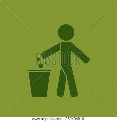 Garbage Symbol. Do Not Litter Sign. Trash Icon. Logo On Green Background. Symbol For Web Site Comput