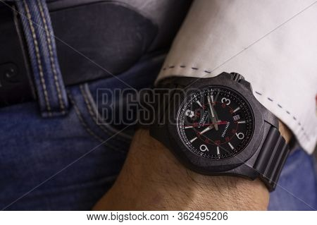 Ibach, Switzerland 31.03.2020 - Closeup Fashion Image Of Victorinox Watch On Wrist Of Man: Mans Hand