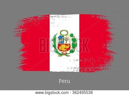Peru Republic Official Flag In Shape Of Paintbrush Stroke. Peruvian National Identity Symbol For Pat