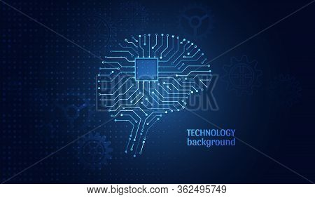 Circuit Board In The Form Of Brain. Artificial Intelligence. Machine Learning Technology Concept. Ab