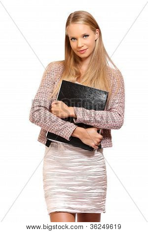 Young Businesswoman Standing On White Background