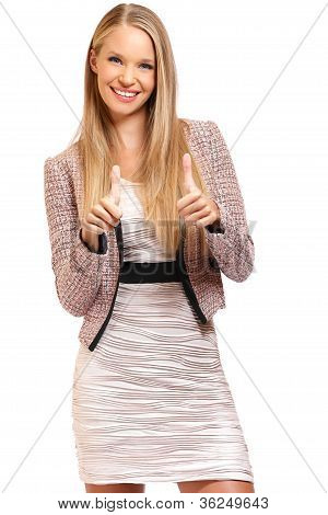 Happy Businesswoman With Thumbs Up Portrait