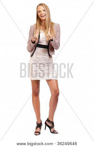 Happy Elegant Busineswoman Posing On White Background