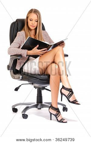 Elegant Business Woman Reading A Project