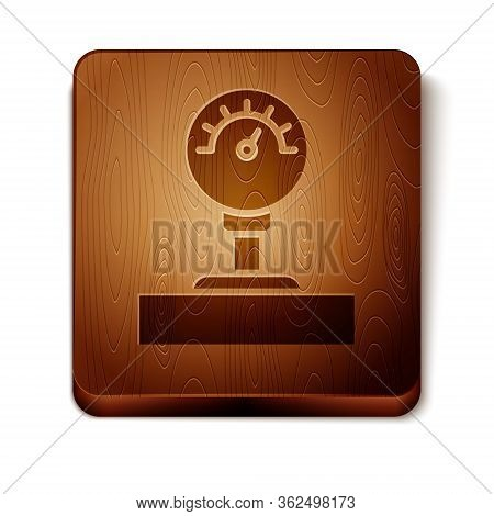 Brown Gauge Scale Icon Isolated On White Background. Satisfaction, Temperature, Manometer, Risk, Rat
