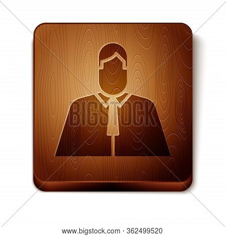 Brown Lawyer, Attorney, Jurist Icon Isolated On White Background. Jurisprudence, Law Or Court Icon.