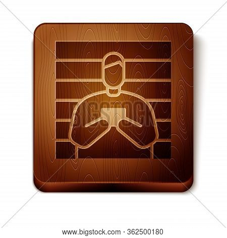 Brown Suspect Criminal Icon Isolated On White Background. The Criminal In Prison, Suspected Near The