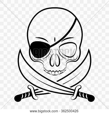Cutout Illustration Of A Pirate, Skeleton Pirate Sign. Angry Pirate On A Transparent Background For