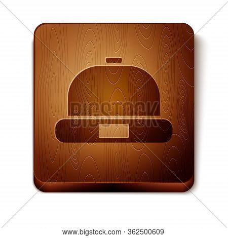 Brown Beanie Hat Icon Isolated On White Background. Wooden Square Button. Vector Illustration