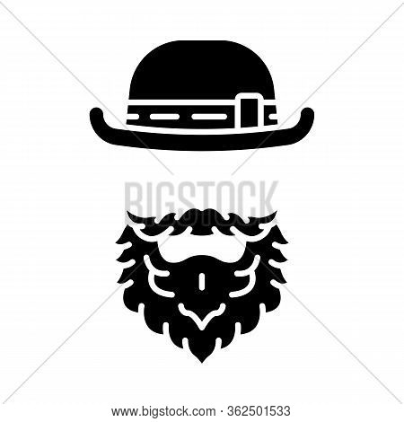 Leprechaun Glyph Icon. Man With Bowler Hat And Beard. Saint Patrick S Day Silhouette Symbol. Negativ