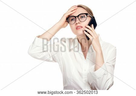 Something Wrong. Businesswoman Angry Talking On The Mobile Cell Phone About Something Important Isol