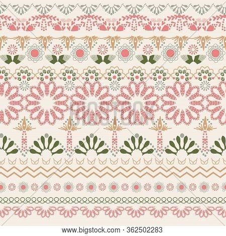 Vector Hand Drawn Oriental Pattern Art Background. Seamless Pattern Indian Henna Mehndi Border Eleme