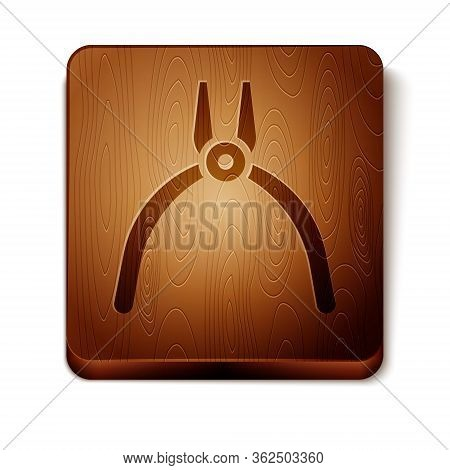 Brown Pliers Tool Icon Isolated On White Background. Pliers Work Industry Mechanical Plumbing Tool.