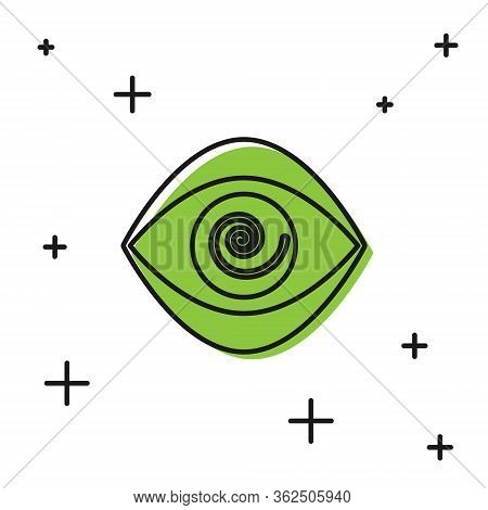 Black Hypnosis Icon Isolated On White Background. Human Eye With Spiral Hypnotic Iris. Vector Illust