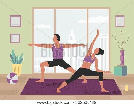 Couple Exercising Yoga At Home Flat Color Vector. Stay Home Yoga Meditation Practice Cartoon. Breath