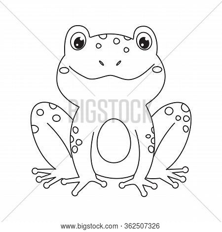 Frog For Coloring Book.line Art Design For Kids Coloring Page.