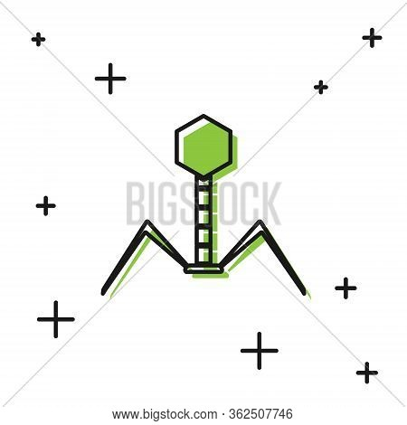 Black Bacteria Bacteriophage Icon Isolated On White Background. Bacterial Infection Sign. Microscopi