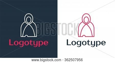 Logotype Line Mantle, Cloak, Cape Icon Isolated On White Background. Magic Cloak Of Mage, Wizard And
