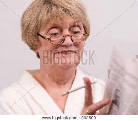 Woman Reading Her Morning Paper