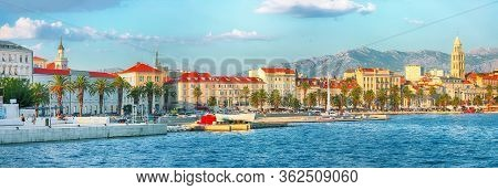 Fantastic View Of The Promenade The Old Town Of Split With The Palace Of Diocletian And Marina.  Loc