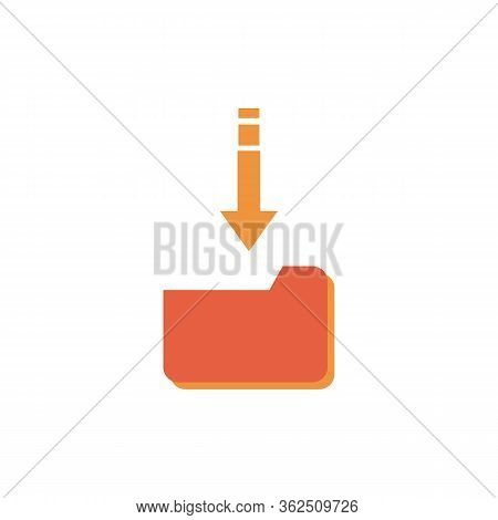 Vector Illustration Of Office Business Concept With Download Folder Information And Download Icon.
