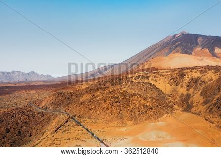 Mars The Red Planets Desert Landscape. Teide National Park. Beautiful View Of The Teide Volcano. Des