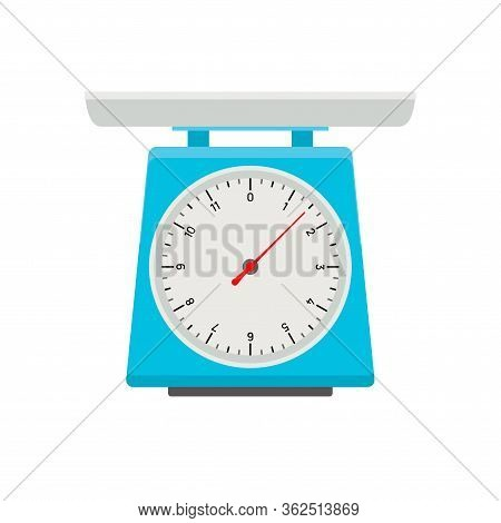 Domestic Weigh Scale Food Balance Vector Icon. Food Weight Kitchen Illustration