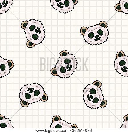 Kawaii Panda Bear Onigiri Japanese Rice Seamless Vector Pattern. Hand Drawn Oriental Seaweed Roll Ri
