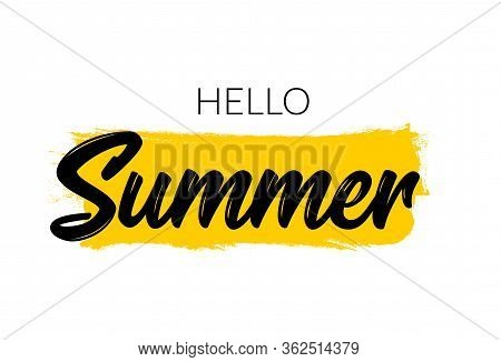 Hello Summer Letter Logo Template. Vector Summer Welcome Typographic Illustration