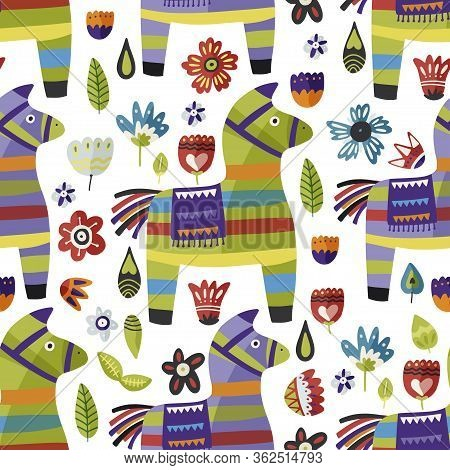Hand Drawn Paper Pinata Vector Seamless Pattern. Traditional Holiday Mexican Party Illustration. Fun