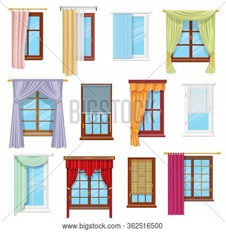 Window Curtains, Draperies, Roller Blinds And Shades, Vector Home Interior And Window Treatments Des
