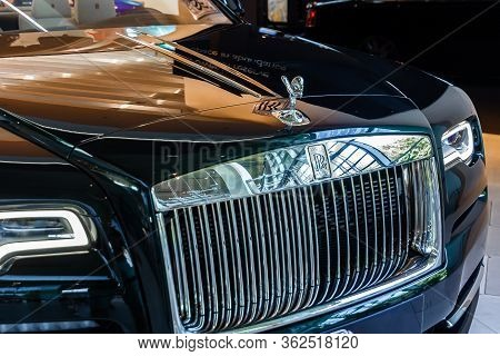 Rolls Royce, The Spirit Of Ecstasy Figure On A Bonnet .bmw Welt, Munich, Germany, March 2020