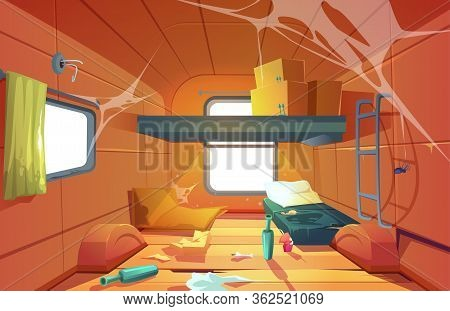 Poor Dirty Interior Of Camper. Vector Cartoon Illustration Of Poverty, Abandoned Camping Van With Me