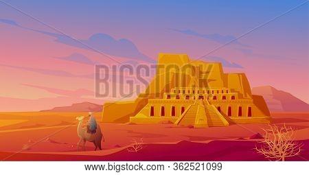 Egypt Desert With Hatshepsut Temple, Camel With Arab, Mountain And Tumbleweed. Vector Cartoon Landsc