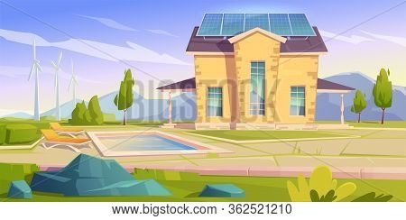 House With Solar Panels And Wind Mills. Eco Friendly Home, Modern Building On Nature Landscape With