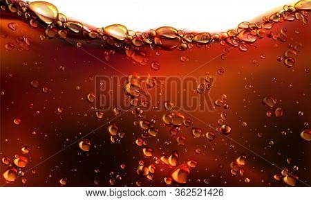 Splash Of Cola, Soda Or Beer With Bubbles. Vector Realistic Illustration Of Fizzy Drink, Champagne,