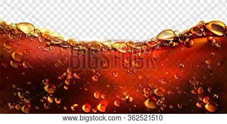 Air Bubbles Cola, Soda Drink, Beer Or Water Border. Dynamic Fizzy Carbonated Motion On Transparent B