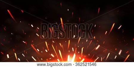 Weld Sparks Isolated On Black Background. Vector Realistic Flare Effect Of Metal Welding Or Blacksmi