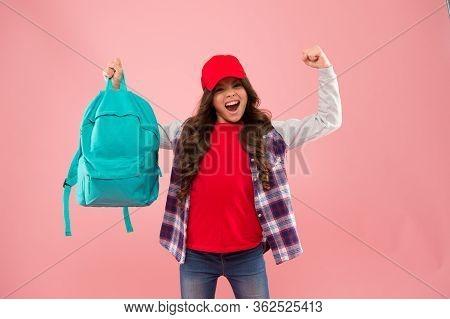 Winner Gives What It Takes. Happy Winner Hold School Bag Pink Background. School Contest Winner. Hap