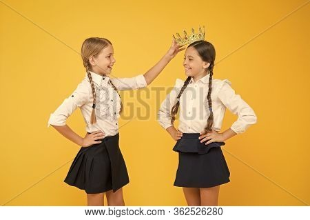 Crown Suits Her. Adorable Small Child Rewarding Cute Little Champion Girl With Crown. Happy Little W