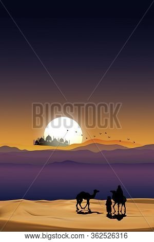 Group Of Arab Family With Camels Walking In Desert Sand, Panoramic Landscape  Muslim Caravan Ride Ca