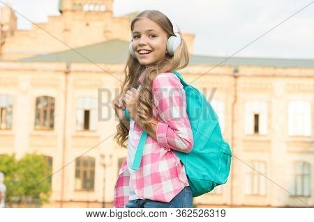 Educational Podcast. Girl Headphones Listening Music. Kid Girl Enjoy Music. Pleasant Time. Child Hea