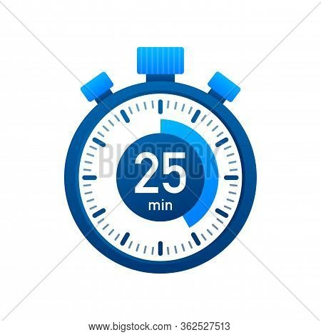 The 25 Minutes, Stopwatch Vector Icon. Stopwatch Icon In Flat Style, Timer On On Color Background. V