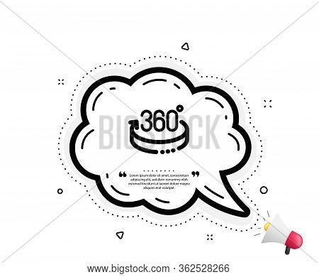 360 Degrees Icon. Quote Speech Bubble. Vr Simulation Sign. Panoramic View Symbol. Quotation Marks. C