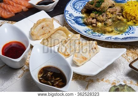 Traditional Homemade Chicken And Vegtables Gyozas.