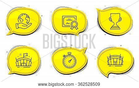 Timer Sign. Diploma Certificate, Save Planet Chat Bubbles. Arena, Award Cup And Arena Stadium Line I