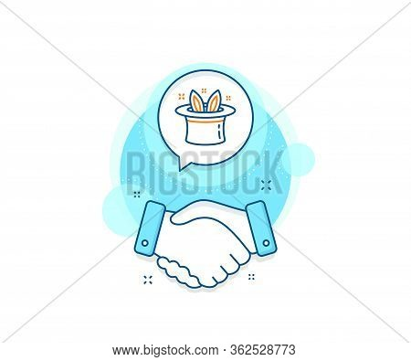 Magic Tricks With Hat And Rabbit Sign. Handshake Deal Complex Icon. Hat-trick Line Icon. Illusionist
