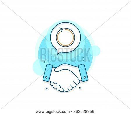 Refresh Arrowhead Symbol. Handshake Deal Complex Icon. Loop Arrow Line Icon. Navigation Pointer Sign